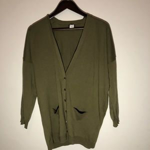 J. Crew 100% Wool Olive Green Button Up Cardigan